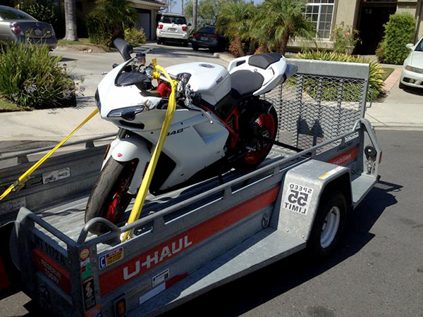 Ducati 848 Crashed on Trailer