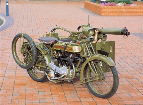 Clyno Motorcycle Sidecar with Maxim Machine Gun