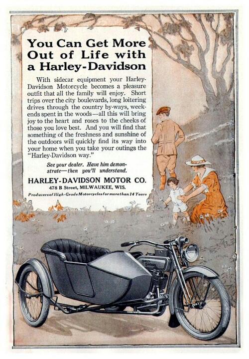 Vintage Harley Davidson Sidecar Ad