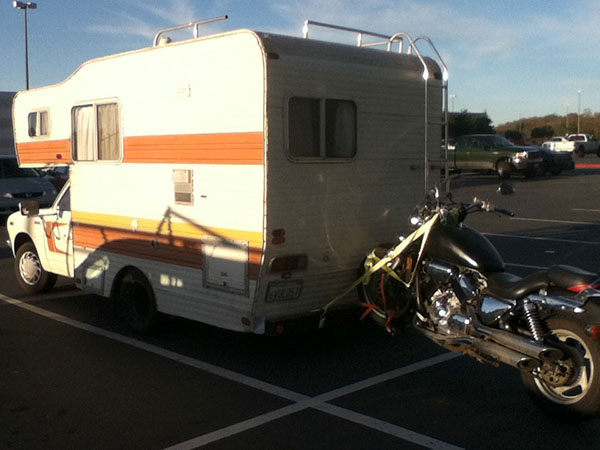 RV square bumper motorcycle carrier