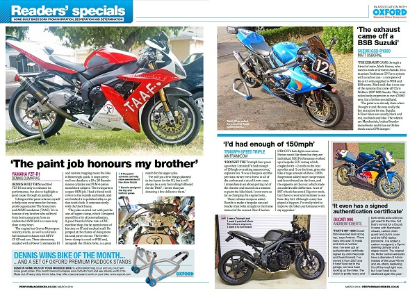 Performance Bikes magazine spread