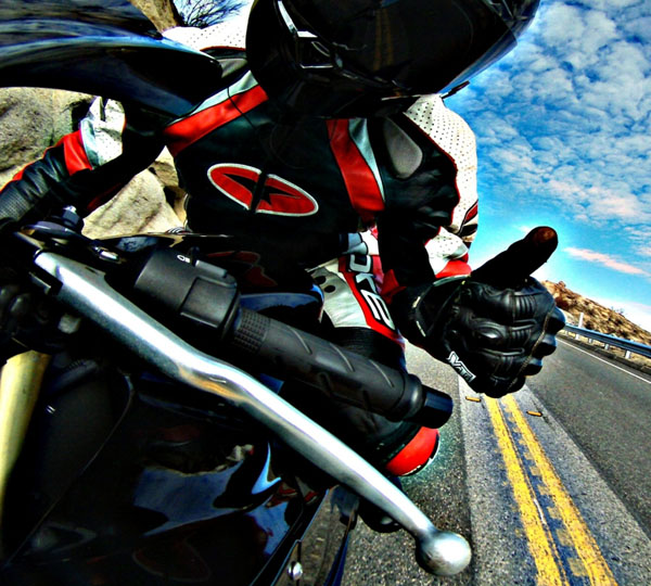 POV Motorcycle thumbs up