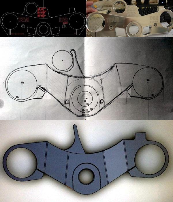 Motorcycle art triple tree designs