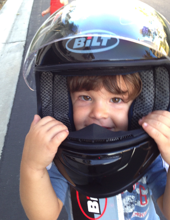 Even my three-year old knows to wear a helmet when riding a motorcycle!
