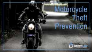 "image of rider on motorcycle framed with the words ""motorcycle theft prevention"""