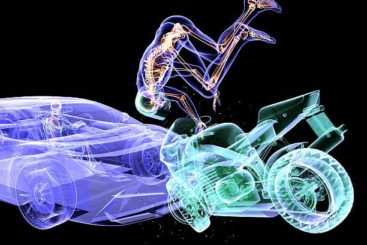 wireframe picture of a motorcyclist crashing into a car and flying through the air