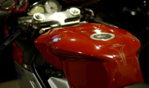 closeup of MV Augusta red fuel tank