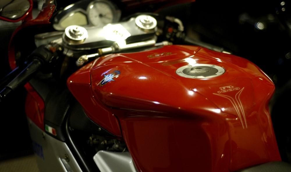 closeup of MV Augusta red fuel tank