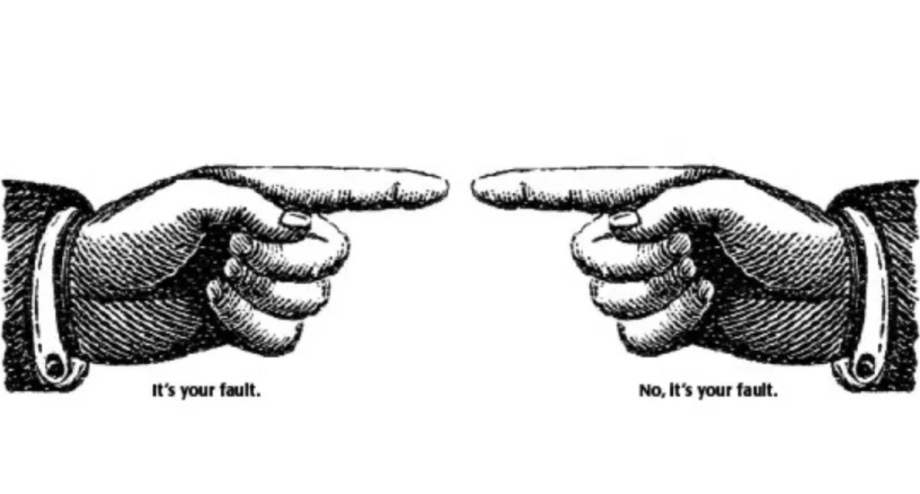 cartoon of fingers pointing at each other to emphasize that people often refuse to admit fault in a motorcycle accident