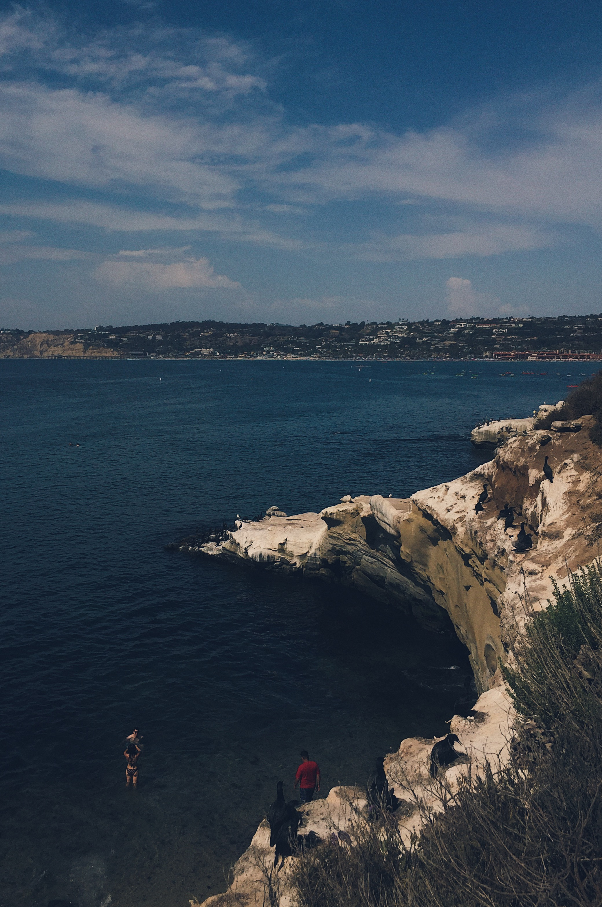 View of the rocky shore from above