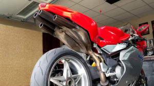 The MV Augusta has a unique exhaust, shown here from underneath the tail section