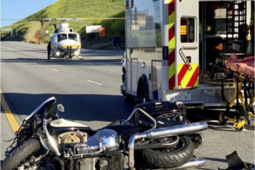California Highway Patrol motorcycle was in a bad accident in Los Angeles, wrecking the bike
