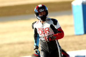 Team DBR Racing leathers looks a lot like the uniforms Power Rangers wear