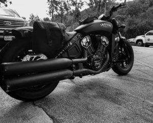 Modern Indian scout motorcycle from low rear show side vantage