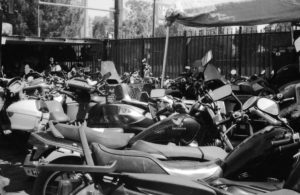 Fenced in Motorcycle impound yard