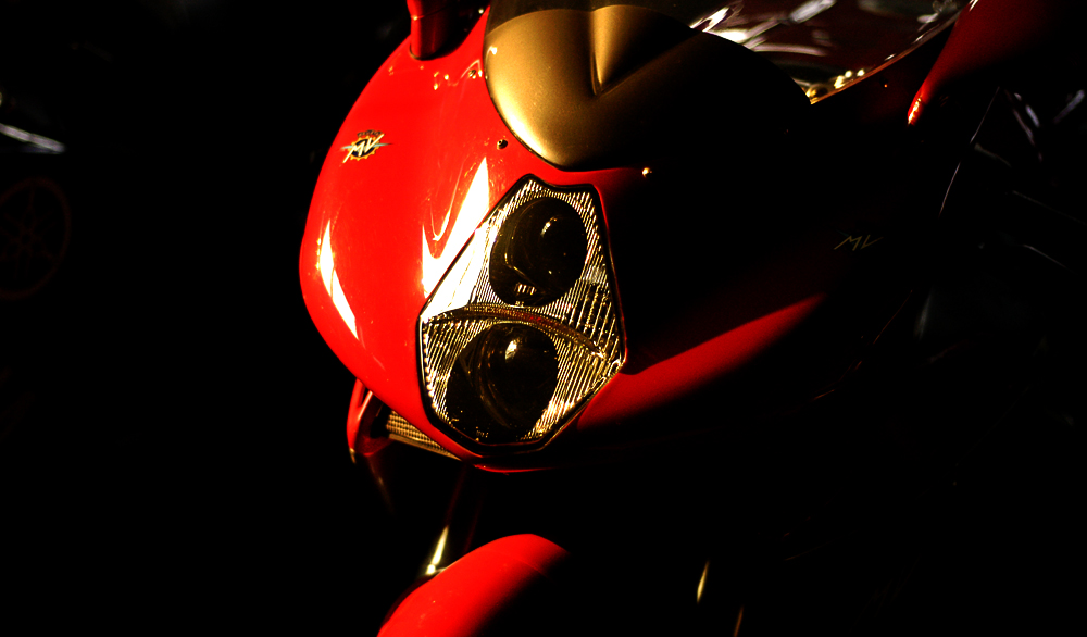 MV Augusta F4 Motorcycle headlight view