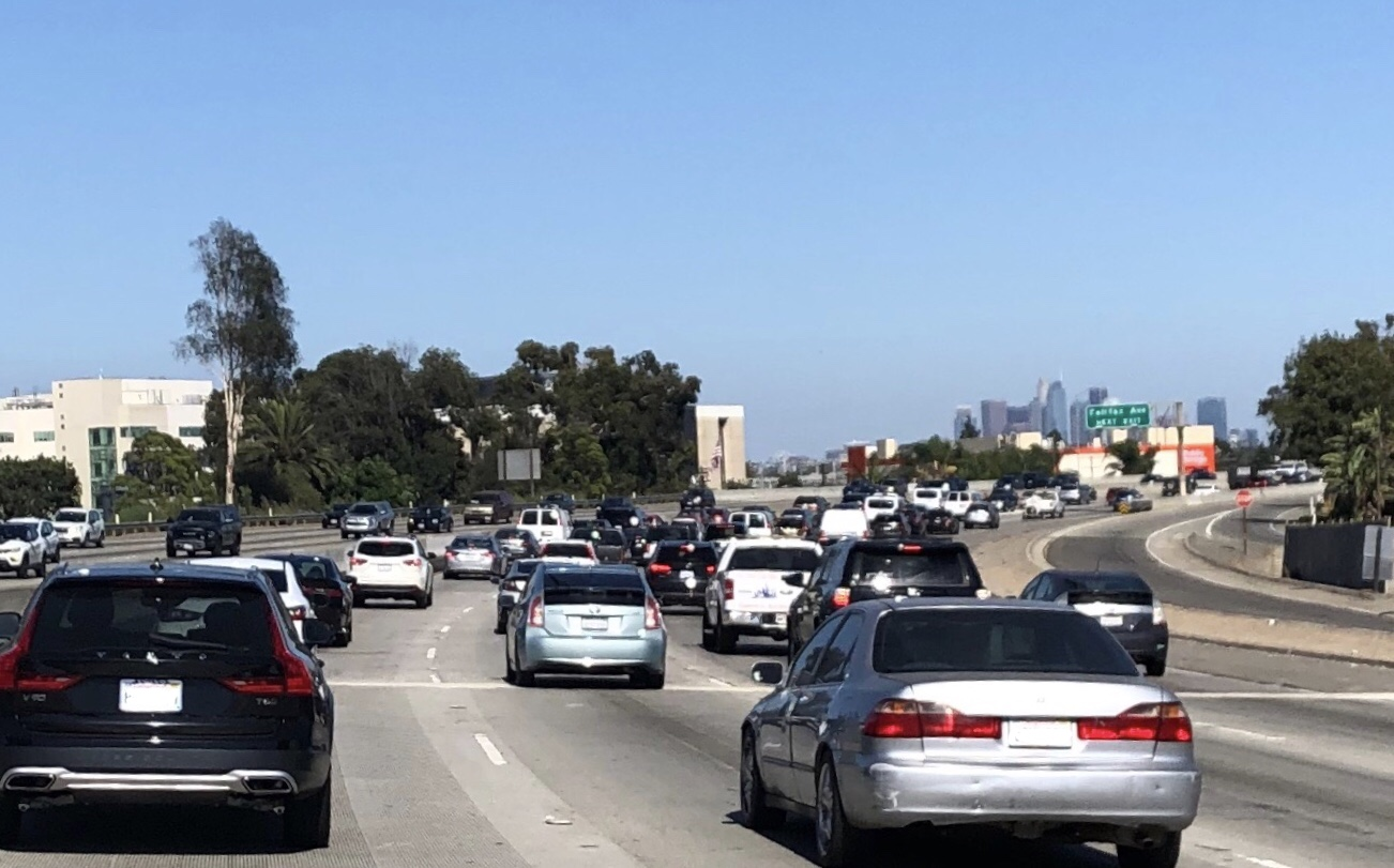 Traffic backed up on I10 in California near Los Angeles